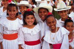 Traje típico Puerto Rico, hombre y mujer