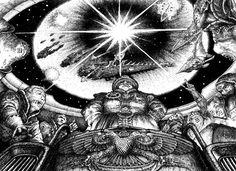 A huge nuclear shockwave decimates an Eldar fleet as Imperials observe. Battlefleet Gothic, Different Races, Classical Antiquity, Warhammer 40k Miniatures, Game Workshop, The Grim, Rogues, Old School, Photo Art