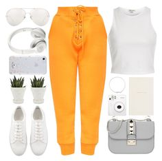 """""""Pop Of Orange"""" by monmondefou ❤ liked on Polyvore featuring River Island, Valentino, Linda Farrow, Beats by Dr. Dre, Kate Spade, Chive, Smythson, white and orange"""
