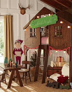 A really Christmassy room for kids! This Log Cabin Play Loft is so cool!