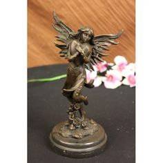 Bronzioni YRD650 Jean Patoue Young Fairy Clutches Giant Heart Bronze Statue