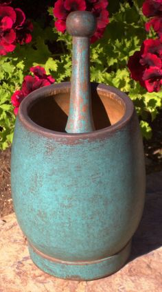 19th c treen mortar and pestle; old teal blue paint. ~♥~