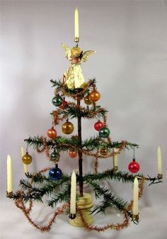 Antique GERMAN FEATHER TREE * vintage Christmas Ornaments & Candle ...