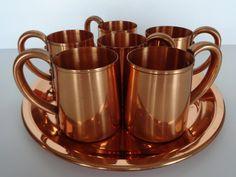 Copper tray and mug set, copper mug set, six copper mugs, copper tray, copper mugs, metal mugs, metal tray, copper bar tray, bar tray set