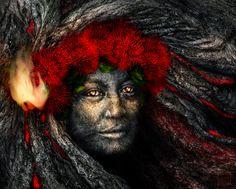 Madame Pele | North Liza Lane Hawaiian Mythology, Hawaiian Goddess, Hawaiian Legends, Hawaiian Art, Velvet Painting, Maori People, Polynesian Art, Hawaii Volcano, Goddess Art