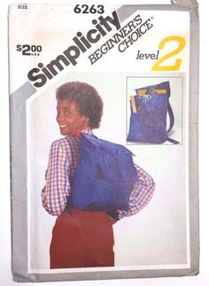 Simplicity Sewing Pattern 6263 Whitney Houston Model Backpack Vtg 1980s Uncut #SimplicityBeginnersChoice