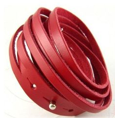 Red Leather Bracelet Wristband