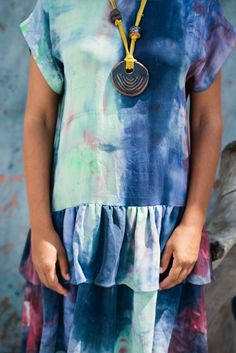 Hand Dyed Silk Ruffle Dress — Ermie