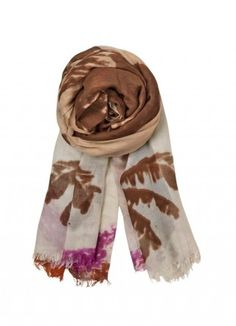 Roma Scarf - Plümo Ltd Generously sized chocolate and purple tie-dye scarf with beautiful palm leaf print. Narrow frayed end and rolled edges. 196 x 105cm. Modal/cashmere mix. Dry clean.
