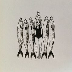 Geffen Refaeli is great! Art Graphique, Fish Art, Art Inspo, Printmaking, Cool Art, Art Drawings, Illustration Art, Artsy, Sketches