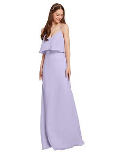 AWEI Chiffon Bridesmaid Dresses Long Prom Dresses Spaghetti Strap Formal Gown for Women at Women's Clothing store: Lilac Bridesmaid Dresses, Prom Dresses, Bridesmaids, Formal Dresses For Women, Formal Gowns, Junior Dresses, Chiffon Fabric, Evening Gowns, Spaghetti Straps