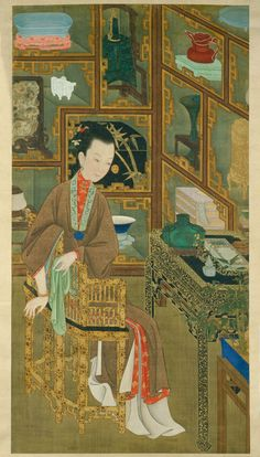 清 無款 美人図・鑑古 北京故宮博物院所蔵