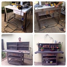 Transformation of an old kitchen cart to a beautiful rustic potting bench with repurposed fence wood.