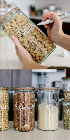 Home Decor Inspiration : 50 Stunning DIY Kitchen Storage Solutions for Small Spa. Home Decor Inspiration : 50 Stunning DIY Kitchen Storage Solutions for Small Space and Space Saving Ideas Kitchen Storage Solutions, Diy Kitchen Storage, Craft Storage, Decorating Kitchen, Pantry Storage Containers, Mason Jar Storage, Kitchen Containers, Storage Canisters, Canisters For Kitchen