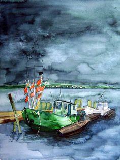 Aquarelle von meinen Malreisen als Zeitzeugen | Kutter vor Groß Zicker (c) Aquarell von Frank Koebsch #wirsindinsel! #rügen