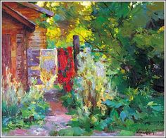Paintings by Sergei Bongart -  Two Shawls on Gate