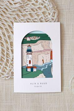 Houd je van ruige kustlandschappen? De Bretagne huwelijksuitnodiging is perfect voor stellen die wel houden van een stevige bries op hun mooiste dag! Dubbel gevouwen uitnodiging met een mooie geïllustreerde kaart. Op de omslag zorgt een deurvormige opening ervoor dat de afbeelding van de kaart zichtbaar is. De achterkant van de kaart is te bewerken. Schrijf de belangrijkste informatie hier op zodat jullie gasten op de hoogte zijn van het dagprogramma. Wilde, Vintage, Design, Brittany, Paper Mill, Unique Cards, Modern Wedding Invitations, Wedding Color Dresses