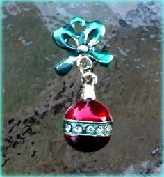 Red and Green Gold finished Ornament Charm with by TheIndigoRaven, $7.50