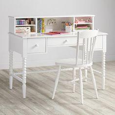 Jenny Lind Spindle Desk & Hutch  | The Land of Nod Teal Nightstands, Jenny Lind, Furniture Styles, Kids Furniture, Desk Hutch, Kid Desk, White Nursery, Tween Girls, Small Desks