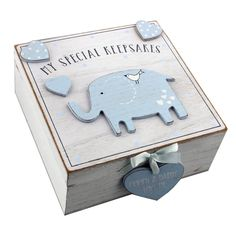 Bambino by Juliana MDF keepsake box, a beautiful keepsake gift for a new baby boy to keep those first memories safe. Features: MDF box elephant embellishment MY SPECIAL KEEPSAKES engraved on box gift box Dimensions: x P & P Available. Wooden Memory Box, Wooden Keepsake Box, Baby Keepsake Boxes, Baby Gift Box, Baby Boy Gifts, Baby Boys, Baby Frame, Baby Memories, Arts And Crafts