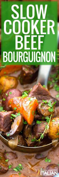Slow Cooker Beef Bourguignon recipe is full of delicious and tender veggies, with juicy, melt in your mouth beef cooked in wine. The post Slow Cooker Beef Bourguignon recipe is full of del… appeared first on Woman Casual. Beef Stew Crockpot Easy, Crockpot Dishes, Crock Pot Slow Cooker, Beef Dishes, Slow Cooker Recipes, Crockpot Recipes, Cooking Recipes, Crockpot Veggies, Pork Recipes
