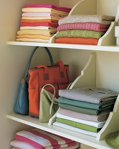 Hang a shelf upside-down, and the brackets become separators. such a good idea