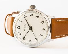 Soviet vintage wristwatch men's watch silver tone by SovietEra, $72.00