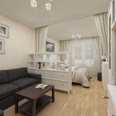 Спальная зона двухкомнатной квартиры совмещена с гостиной. Это решение было принято дизайнером Татьяной Зайцевой и хозяевами квартиры для того, чтобы вторую комнату целиком и полностью посвятить детской.