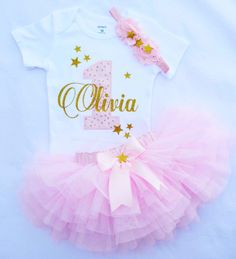 Twinkle Twinkle Little Star Birthday Outfit in Pink and Gold , can be done in…