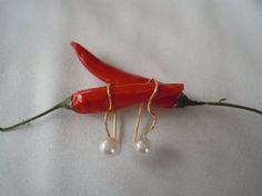 Pendientes de colgar en perla. Oro de 18 K. Fashion. por PilarMoon