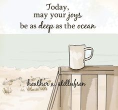 Ocean Coffee Inspirational Art Coffee by RoseHillDesignStudio