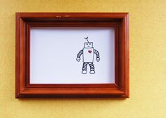 Whimsical Robot Drawing - Cute Nursery Art Print - Yours Truly, Walter. $14.50, via Etsy.