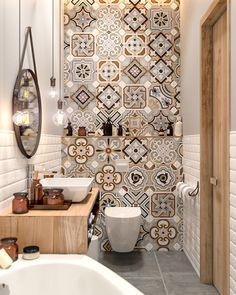 Discover The Best Modern Inspirations For You Next Bathroom Project! Find  More Retro Interior Design