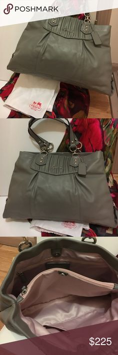 COACH - NWT classic grey - soft as butter! Medium true grey buttery leather, with lovely lavender lining and zip compartments as well as pockets for glasses, phone, etc. Coach Bags