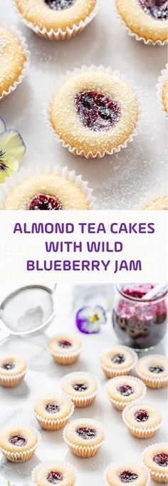 Almond Tea Cakes with Wild Blueberry Jam Mandel-Tee-Kuchen mit wilder Blaubeermarmelade Almond Torte, Almond Cakes, Mini Desserts, Just Desserts, Tea Party Desserts, Tea Snacks, Food Cakes, Cupcake Cakes, Cake Recipes