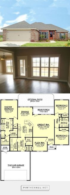 Traditional Style House Plan - 3 Beds 2 Baths 1849 Sq/Ft Plan #430-80 - created via https://pinthemall.net