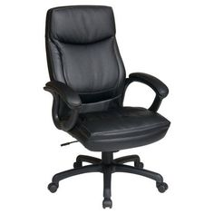 Office Star Products Work Smart Executive High Back Eco Leather Chair, Black