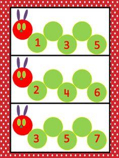 The Very Hungry Number Line by Miss Hodgman's Kindergarten Preschool Bug Theme, Preschool Crafts, Counting Activities, Toddler Activities, Kindergarten Classroom, Kindergarten Activities, The Very Hungry Caterpillar Activities, Hand Crafts For Kids, Teaching Aids