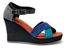TOMS+ Cobalt Montage Women's Strappy Wedges #toms