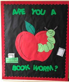 """Teacher_Bulletin_Board_Bookworm (Personal Note: """"Welcome Back"""" Be a Book Worm this Year! Apple Bulletin Boards, Christmas Bulletin Boards, Birthday Bulletin Boards, Teacher Bulletin Boards, Reading Bulletin Boards, Back To School Bulletin Boards, Preschool Bulletin Boards, Bullentin Boards, School Library Displays"""