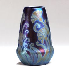 Vase, 1902–7. Sicardo line; metallic glazed white clay; S.A. Weller Pottery, Ohio, 1872–1948; Jaques Sicard, 1865–1923, designer; 5 x 1 3/4 in. (PO-005-66).