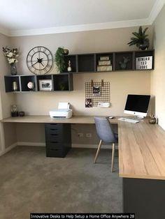 45 + Home Office Decor Ideen für Ihre perfekte Arbeit bei Lovely Home Home Office Setup, Home Office Space, Home Office Design, Office Desk, Kitchen Office, Bedroom Office, Basement Home Office, Office Furniture Design, Furniture For You