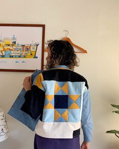 Gorgeous blues and yellow patchwork inspired jacket in a denim fabric sewn by the Mindful Sewist. Denim Patchwork, Patchwork Patterns, Denim Fabric, Sewing Patterns, Patched Denim, Crazy Patchwork, Quilted Clothes, Sewing Clothes, Diy Clothes