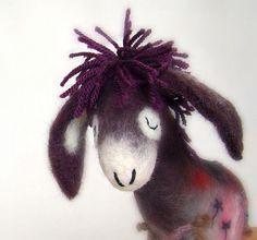 Beatrice  Felt Donkey with long floppy ears  Art by TwoSadDonkeys