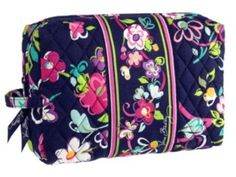 "Vera Bradley ""ribbons"" Makeup Bag Large Vera Bradley Makeup Bag, gently used! NOT NWT Vera Bradley Makeup Brushes & Tools Large Cosmetic Bag, Travel Cosmetic Bags, Cosmetic Case, Makeup Bag Essentials, Pack Your Bags, Floral Bags, Blue Makeup, Vera Bradley Backpack, Large Bags"