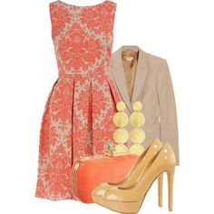 Classy outfit with a patterned dress Look Fashion, Fashion Beauty, Womens Fashion, Spring Fashion, Coral Fashion, Burgundy Fashion, Fashion Glamour, 2000s Fashion, Fashion Trends