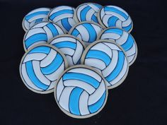Volleyball Cookies Sugar cookies with royal icing.