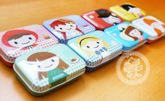 Petites boîtes métal kawaii et colorées avec des jolies petites filles~~ -www.chezfee.com magasin kawaii en ligne asiatique et européen