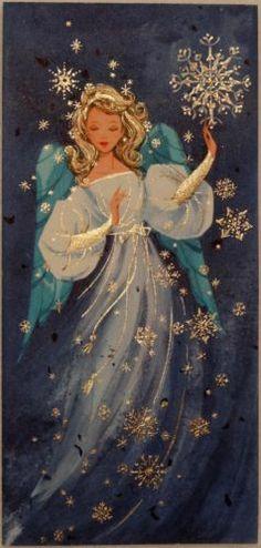 #1136 50s Unused Beautiful Angel in the Snowflakes- Vtg Christmas Greeting Card