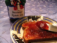 STRAWBERRY RHUBARB JAM  This was the first jam recipe I tried. After finding some fresh rhubarb at the farmer's market last year, I knew I had to try making this, one of my favorite jams.